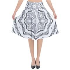 Mandala Pattern Floral Flared Midi Skirt