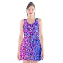 Triangle Tile Mosaic Pattern Scoop Neck Skater Dress