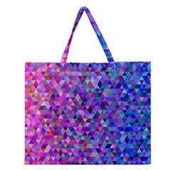 Triangle Tile Mosaic Pattern Zipper Large Tote Bag by Nexatart