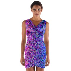 Triangle Tile Mosaic Pattern Wrap Front Bodycon Dress