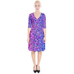 Triangle Tile Mosaic Pattern Wrap Up Cocktail Dress