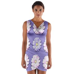 Daisy Flowers Wild Flowers Bloom Wrap Front Bodycon Dress
