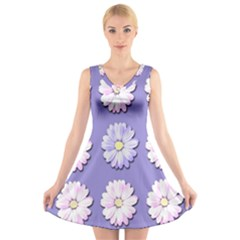 Daisy Flowers Wild Flowers Bloom V Neck Sleeveless Skater Dress