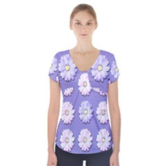Daisy Flowers Wild Flowers Bloom Short Sleeve Front Detail Top