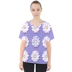 Daisy Flowers Wild Flowers Bloom V Neck Dolman Drape Top