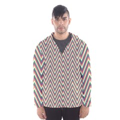 Chevron Retro Pattern Vintage Hooded Wind Breaker (men)