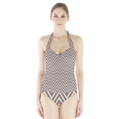 Chevron Retro Pattern Vintage Halter Swimsuit