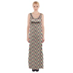 Chevron Retro Pattern Vintage Maxi Thigh Split Dress