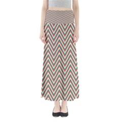 Chevron Retro Pattern Vintage Full Length Maxi Skirt