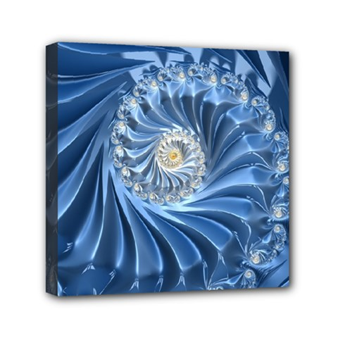 Blue Fractal Abstract Spiral Mini Canvas 6  X 6  by Nexatart