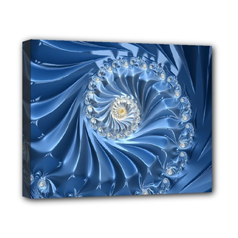 Blue Fractal Abstract Spiral Canvas 10  X 8