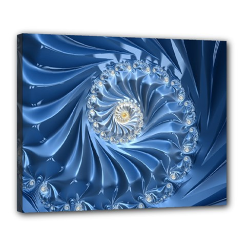 Blue Fractal Abstract Spiral Canvas 20  X 16  by Nexatart