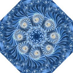 Blue Fractal Abstract Spiral Folding Umbrellas