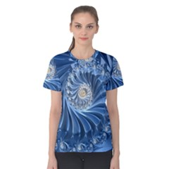 Blue Fractal Abstract Spiral Women s Cotton Tee