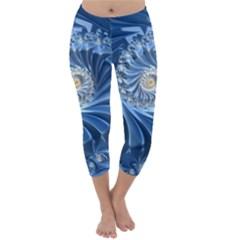 Blue Fractal Abstract Spiral Capri Winter Leggings