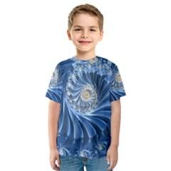 Blue Fractal Abstract Spiral Kids  Sport Mesh Tee