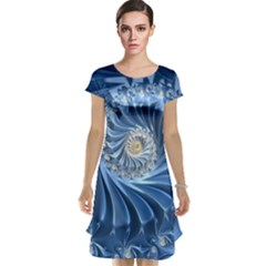 Blue Fractal Abstract Spiral Cap Sleeve Nightdress