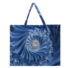 Blue Fractal Abstract Spiral Zipper Large Tote Bag
