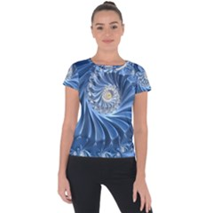 Blue Fractal Abstract Spiral Short Sleeve Sports Top