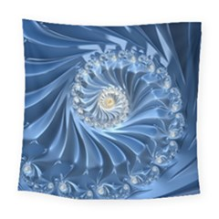 Blue Fractal Abstract Spiral Square Tapestry (large)