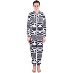 Seamless Pattern Repeat Line Hooded Jumpsuit (ladies)