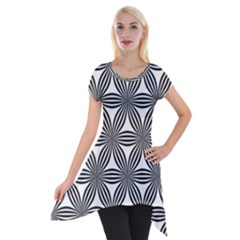 Seamless Pattern Repeat Line Short Sleeve Side Drop Tunic