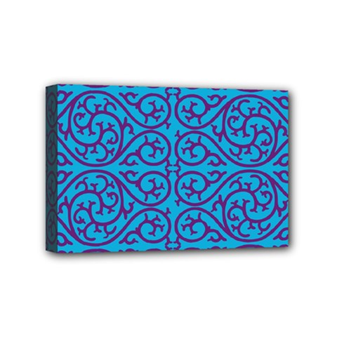 Monogram Blue Purple Background Mini Canvas 6  X 4