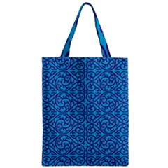 Monogram Blue Purple Background Zipper Classic Tote Bag