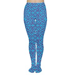 Monogram Blue Purple Background Women s Tights