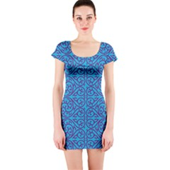 Monogram Blue Purple Background Short Sleeve Bodycon Dress