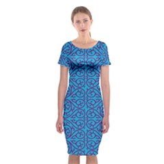 Monogram Blue Purple Background Classic Short Sleeve Midi Dress