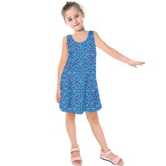 Monogram Blue Purple Background Kids  Sleeveless Dress
