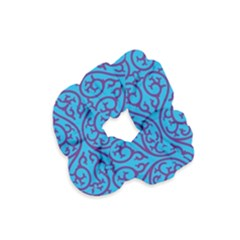 Monogram Blue Purple Background Velvet Scrunchie