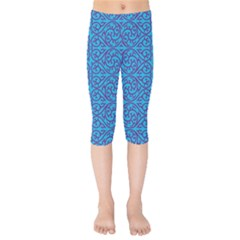 Monogram Blue Purple Background Kids  Capri Leggings