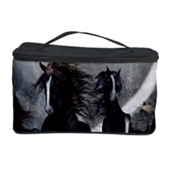 Awesome Wild Black Horses Running In The Night Cosmetic Storage Case by FantasyWorld7