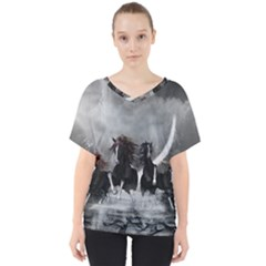 Awesome Wild Black Horses Running In The Night V Neck Dolman Drape Top