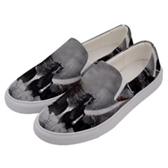 Awesome Wild Black Horses Running In The Night Men s Canvas Slip Ons by FantasyWorld7