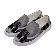 Awesome Wild Black Horses Running In The Night Women s Canvas Slip Ons by FantasyWorld7