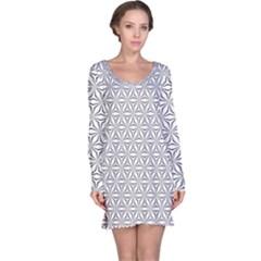 Seamless Pattern Monochrome Repeat Long Sleeve Nightdress