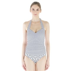 Seamless Pattern Monochrome Repeat Halter Swimsuit