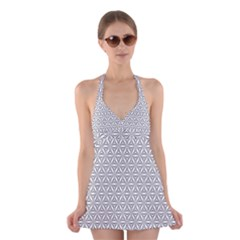 Seamless Pattern Monochrome Repeat Halter Swimsuit Dress
