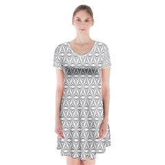 Seamless Pattern Monochrome Repeat Short Sleeve V Neck Flare Dress