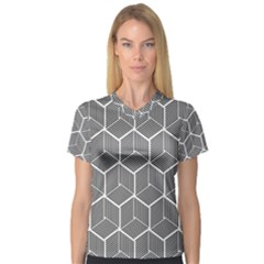 Cube Pattern Cube Seamless Repeat V Neck Sport Mesh Tee