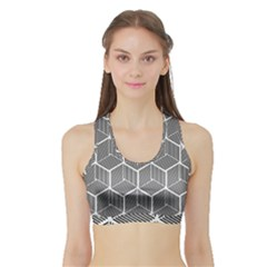 Cube Pattern Cube Seamless Repeat Sports Bra With Border