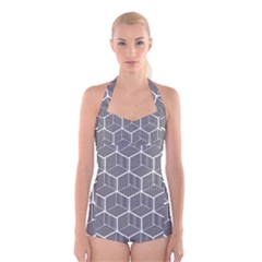Cube Pattern Cube Seamless Repeat Boyleg Halter Swimsuit