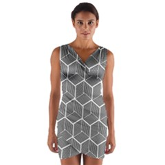 Cube Pattern Cube Seamless Repeat Wrap Front Bodycon Dress