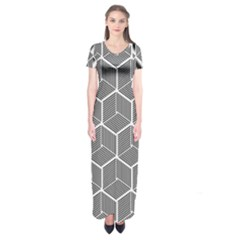 Cube Pattern Cube Seamless Repeat Short Sleeve Maxi Dress