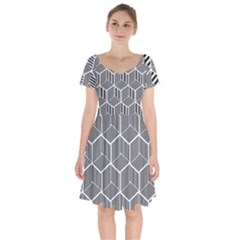Cube Pattern Cube Seamless Repeat Short Sleeve Bardot Dress