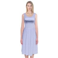 Zigzag Chevron Thin Pattern Midi Sleeveless Dress
