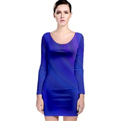 Blue Background Abstract Blue Long Sleeve Bodycon Dress